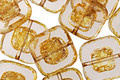 Czech Glass Transparent Champagne Pressed Square 12mm
