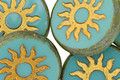Czech Glass Opaque Turquoise Picasso w/ Gold Sun Coin 22mm