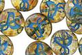 Czech Glass Light Amber Picasso Coin w/ Blue Bird 11mm