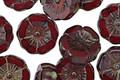 Czech Glass Merlot Picasso Hibiscus Coin 12mm