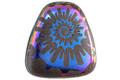 Czech Glass Laser Etched Ammonite on Matte Jet w/ Metallic Rainbow Finish Pendant 23x24mm