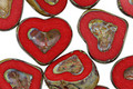 Czech Glass Red Apple Picasso Heart 12x14mm