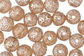 Czech Glass Peach w/ Etched Mercury Round Druk 6mm