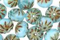 Czech Glass Baby Blue Picasso Cruller 6x9mm