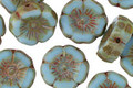 Czech Glass Aquamarine Sky Hibiscus Coin 12mm