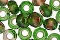 Czech Glass Emerald Copper Lined Large Hole Fire Polished Rondelle 6x9mm