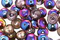 Czech Glass Black Diamond w/ Metallic Rainbow Spacer 2x6mm