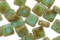Czech Glass Blue Turquoise Picasso 2-Hole Tile 6mm