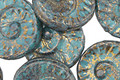 Czech Glass Teal w/ Gold Ammonite Coin 17mm