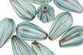 Czech Glass Blue Opal w/ Silver Melon Teardrop 13x7mm