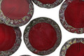 Czech Glass Garnet Picasso Tribal Coin 16mm