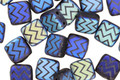 Czech Glass Laser Etched Zigzag on Matte Jet w/ AB Finish 2-Hole Tile 6mm