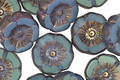 Czech Glass Bronzed Sea Glass Hibiscus Coin 12mm