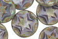 Czech Glass Lilac Starflower Coin w/ Scalloped Edge 15mm