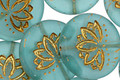 Czech Glass Matte Bronzed Sea Green Lotus Coin 18mm