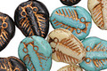Czech Glass Bronzed Turquoise Batik Mix Trilobite 13x11mm