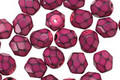 Czech Fire Polished Glass Fuchsia Round Snake Beads 6mm
