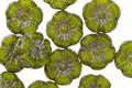 Czech Glass Avocado Picasso Hibiscus Coin 9mm