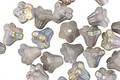 Czech Glass Matte Smoke w/ AB Finish 5 Point Bellflower 5x6mm