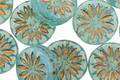 Czech Glass Blue Opal w/ Bronze Daisy Coin 12mm