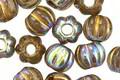 Czech Glass Smoke AB w/ Gold Wash Large Hole Melon Round 8mm (15 Beads)