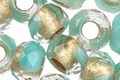 Czech Glass Turquoise & Crystal Gold Lined Large Hole Fire Polished Rondelle 8x12mm