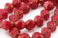 Czech Glass Bronzed Cherry Etched Bicone 10x8mm