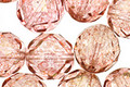 Czech Fire Polished Glass Luster Transparent Topaz/Pink Round 12mm