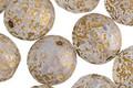 Czech Glass Matte Textured White Opal w/ Gold Flecks Fire Polished Round 12mm