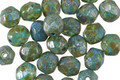 Czech Glass Rainforest Picasso Fire Polished Round 6mm