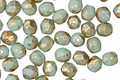 Czech Fire Polished Glass Sweet Mint w/ Gold Flecks Round 4mm