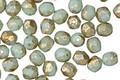 Czech Fire Polished Glass Sweet Mint w/ Flecks Round 4mm