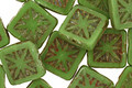 Czech Glass Wasabi Green Picasso Flower Window Square 10mm