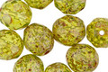 Czech Fire Polished Glass Moss Green Picasso Round 10mm