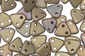 CzechMates Glass Matte Oxidized Bronze Clay 2-Hole Triangle 6mm