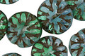 Czech Glass Emerald & Blue Opal Picasso Dahlia Flower Coin 14mm