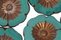 Czech Glass Bronzed Persian Turquoise Picasso Hibiscus Coin 22mm