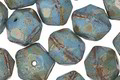 Czech Glass Blue Turquoise Picasso English Cut Bead 8x10mm