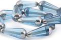 Czech Glass Aquamarine w/ Silver Faceted Teardrop 20x8mm