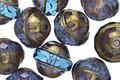 Czech Glass Capri Blue w/ Gold Luster UFO 9x11mm