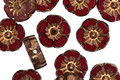 Czech Glass Bronzed Garnet Hibiscus Coin 9mm