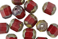 Czech Glass Pomegranate Picasso Faceted Barrel 8x7mm