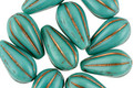 Czech Glass Bronzed Turquoise Melon Teardrop 13x7mm
