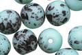 Czech Glass Matte Seafoam Dalmatian Round Druk 6mm