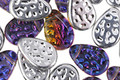 Czech Glass Iris Purple & 1/2 Silver Flat Textured Teardrop 8x11mm
