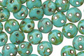 CzechMates Glass Opaque Turquoise Picasso 2-Hole Lentil 6mm