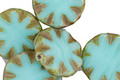 Czech Glass Turquoise Picasso Flower Window Coin 15mm