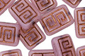 Czech Glass Pink Opal w/ Dark Bronze Tribal Rectangle 13x9mm