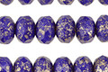 Czech Glass Indigo w/ Gold Luster Fire Polished Rondelle 6x8mm