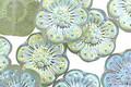 Czech Glass Matte Prairie Green w/ AB Wild Rose Coin 13mm